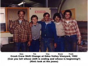 Edna Valley Vineyard Crush Crew 1982