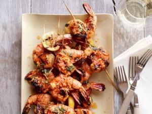 Spicy Lemon Shrimp Skewers via food network