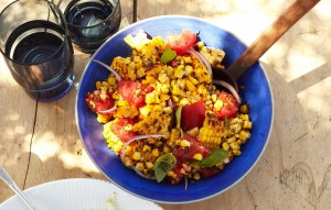 Charred Corn Salad with Basil and Tomatoes via bon appetit