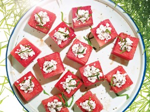 Feta Stuffed Watermelon via epicurious