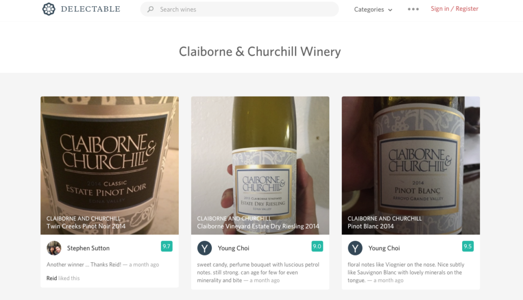 Delectable, wine, wine app, claiborne & churchill