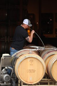 Winemaker Zack Geers preparing our Pinot Noir Blends.